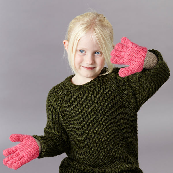 Kids' Lambswool Textured Pink Knitted Gloves