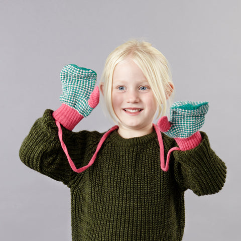Pink Check Lambswool Mittens on a String