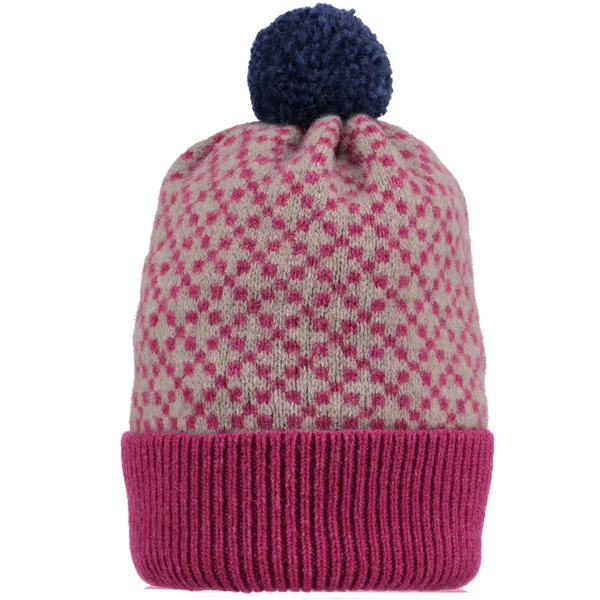 Cross Pattern Navy & Plum Lambswool Bobble Hat