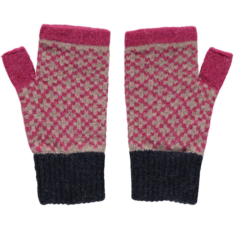 catherine tough plum cross lambswool wrist warmers