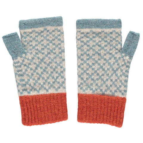 catherine tough sea green lambswool cross wrist warmers