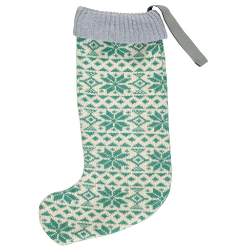 Luxury Christmas Stocking  - Green Fair Isle