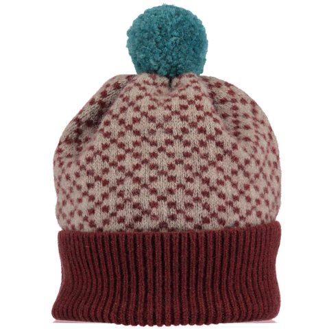 Cross Pattern Cinnamon & Mushroom Lambswool Bobble Hat