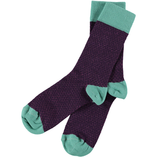 mens purple cotton honeycomb ankle socks