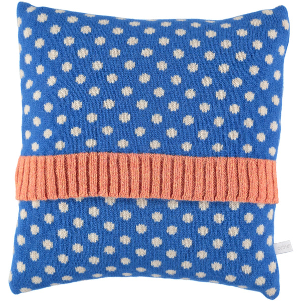 blue dot lambswool cushion