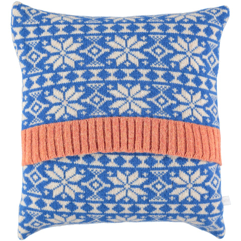 KNITTED BLUE FAIR ISLE CUSHION