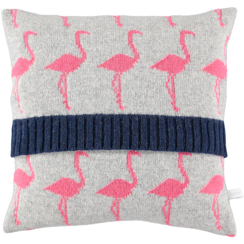 knitted flamingo cushion