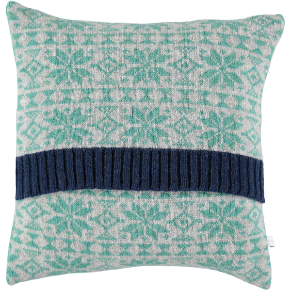 knitted mint fair isle cushion