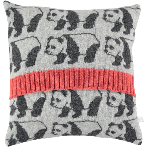 knitted panda cushion