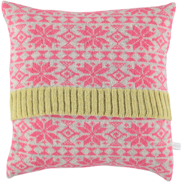 pink fair isle knitted cushion