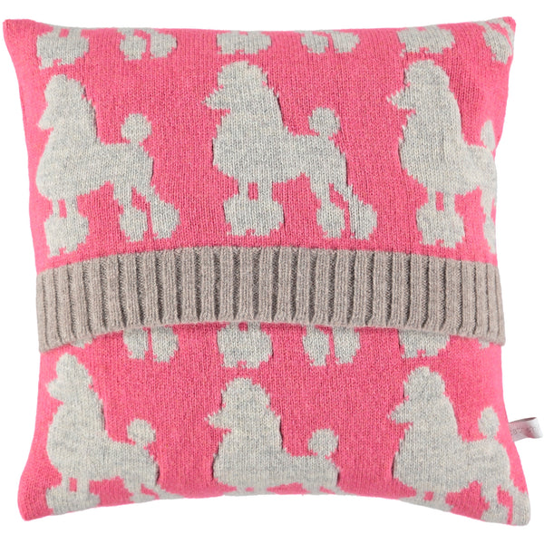 knitted pink poodle cushion