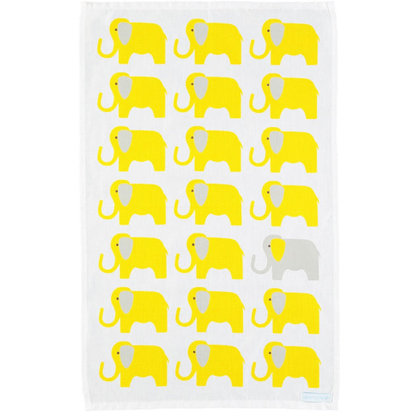 yellow elephant tea towel