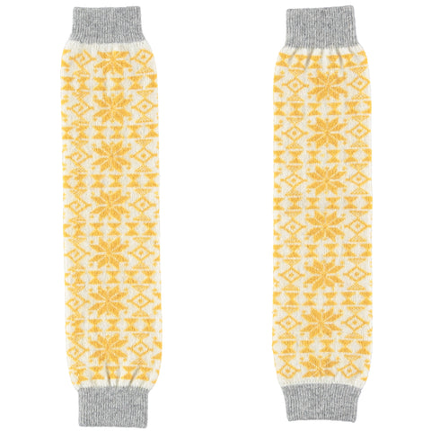 gold fair isle leg warmers