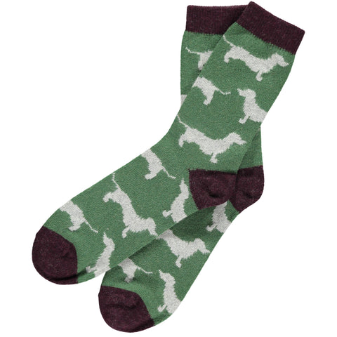 mens green sausage dog lambswool ankle socks