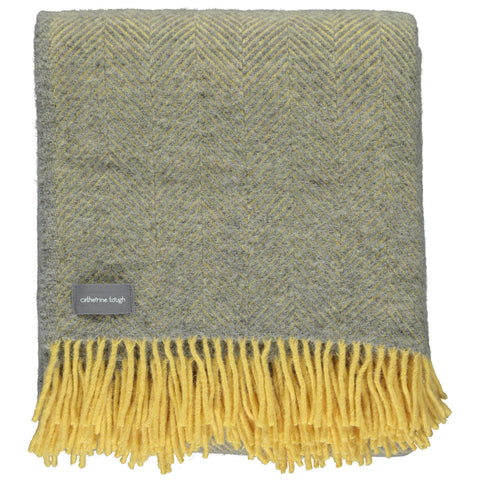 Grey & Lemon Herringbone Wool Throw
