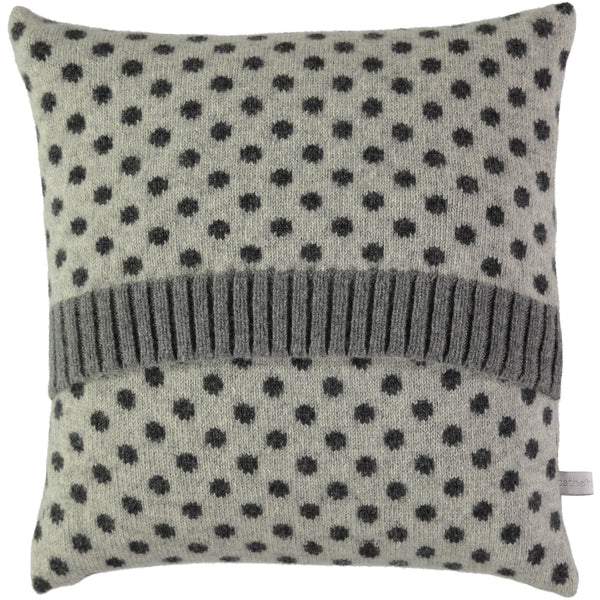 grey dot lambswool cushion