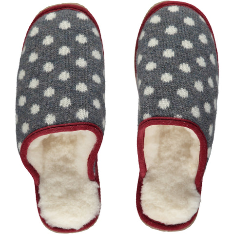 Grey Dot Lambswool & Sheepskin Slippers