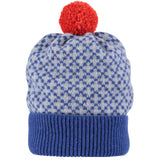 Cross Pattern Persian Blue Bobble Hat