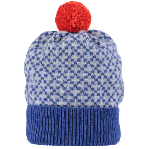 Cross Pattern Blue & Gold Lambswool Bobble Hat