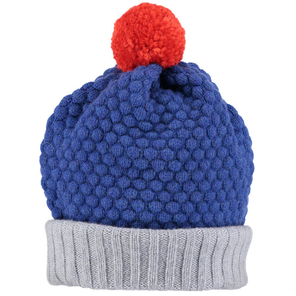 Honeycomb Persian Blue & Orange Lambswool Bobble Hat
