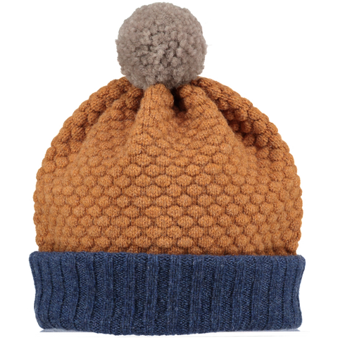 Honeycomb Navy & Mustard Bobble Hat