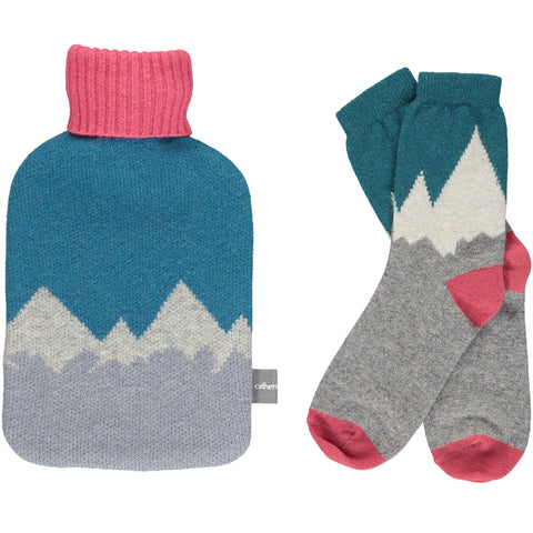 Hot Water Bottle & Ankle Socks Gift Set - Mountains