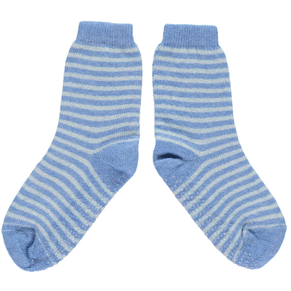 kids blue stripe lambswool ankle socks