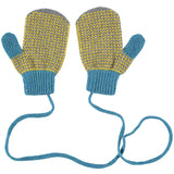 Yellow Check Lambswool Mittens on a String