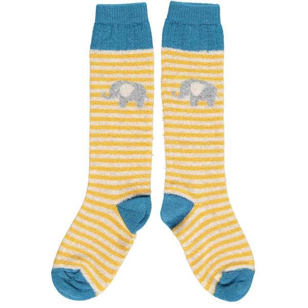 Kids' Lambswool Yellow Elephant Knee Socks
