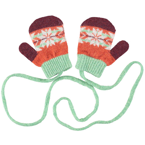 MITTENS - lambswool - age 2-4yrs - fair isle - mint/rust
