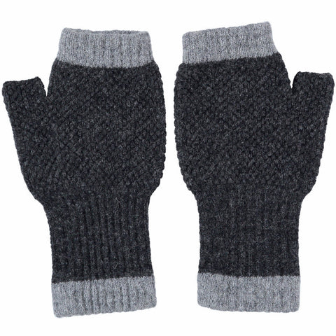 knitted lambswool grey textured wrist warmers