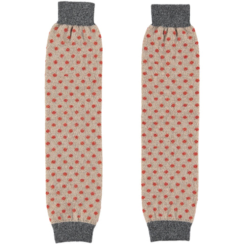 Ladies Lambswool Cinnamon Dot Leg Warmers