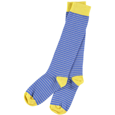 Ladies Cotton Fine Stripe Blue Knee Socks