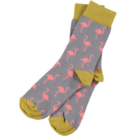 women's pink flamingo cotton ankle socks