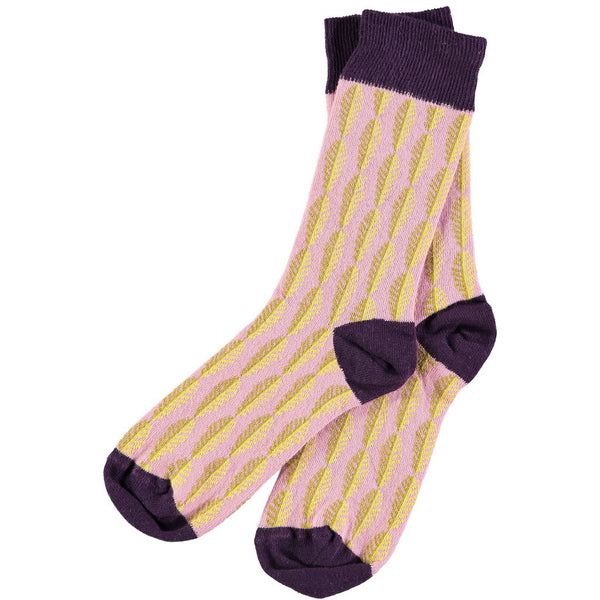 pink and yellow leaf patterned socks