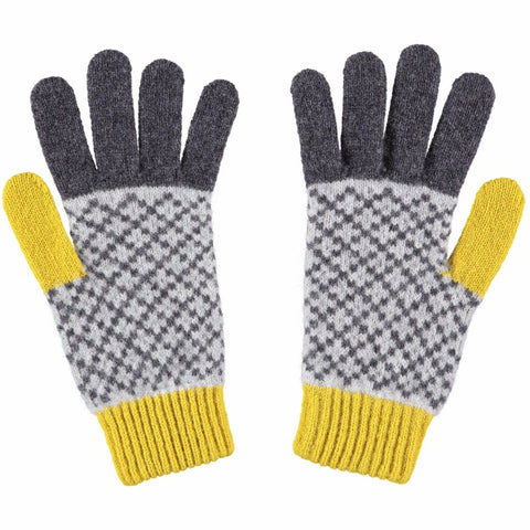 Women's Grey & Yellow Cross Lambswool