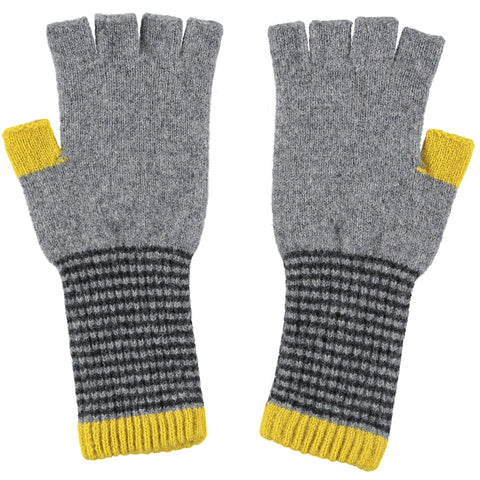 ladies grey stripe fingerless gloves
