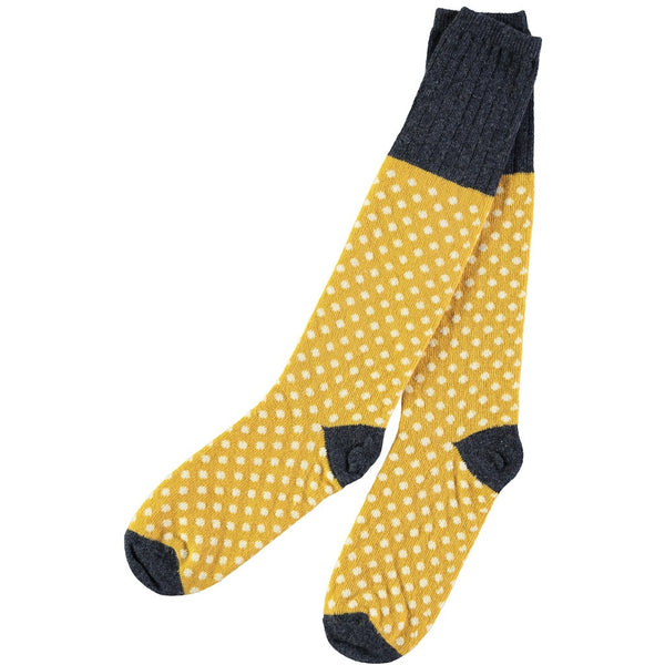 ladies lambswool gold dot knee sock