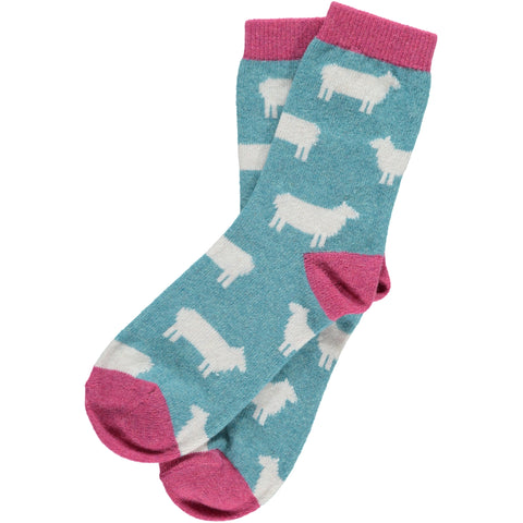 ladies jade sheep lambswool ankle socks