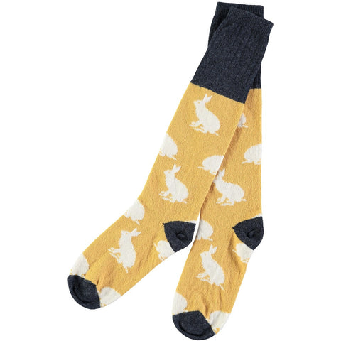 ladies yellow rabbit lambswool socks