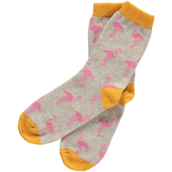 ladies oat & pink flamingo lambswool ankle socks