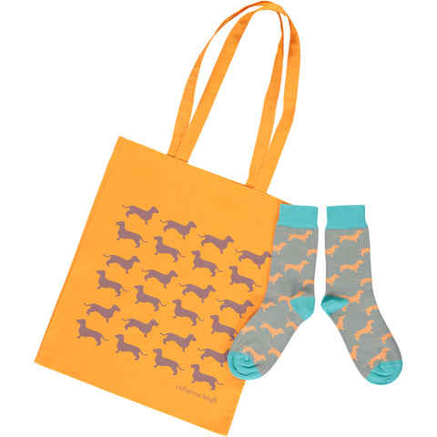 Sausage Dog Shopper & Socks Gift Set - size 4-7UK