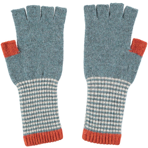 ladies sea green stripe fingerless gloves