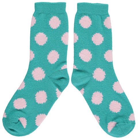 Ladies Spearmint & Pink Big Dot Lambswool Ankle Socks