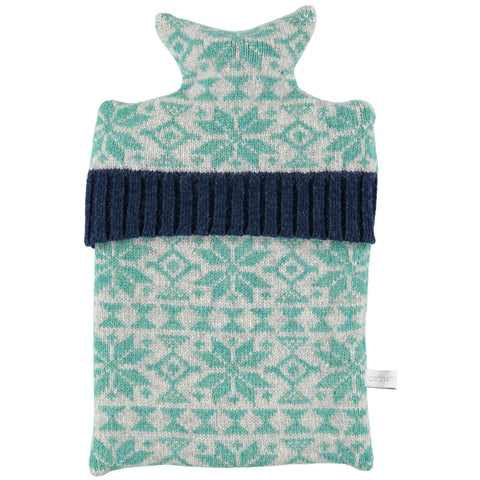 Knitted Grey & Green Fair Isle Hot Water Bottle Cover
