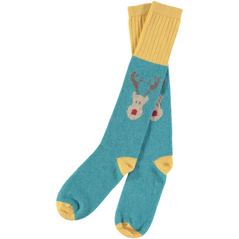 mens lambswool reindeer socks