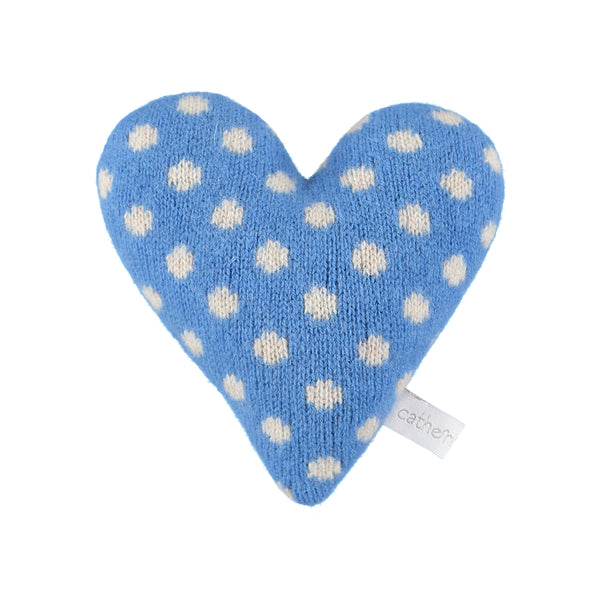 Knitted Polka Dot Bright Blue Heart Filled With Lavender