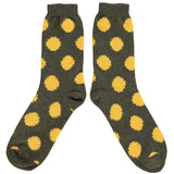 Men's Green & Yellow Big Dot Lambswool Ankle Socks