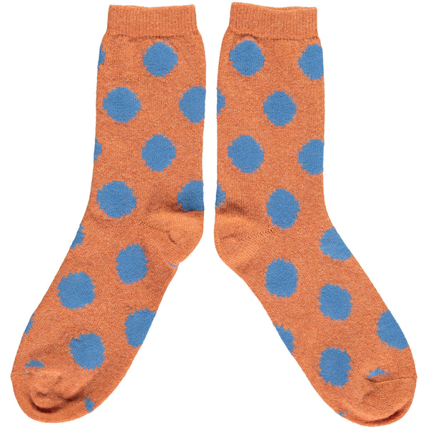 Men's Orange & Blue Big Dot Lambswool Ankle Socks