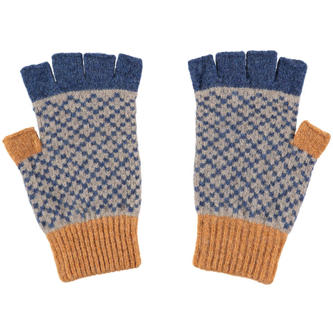 men's blue cross fingerless gloves